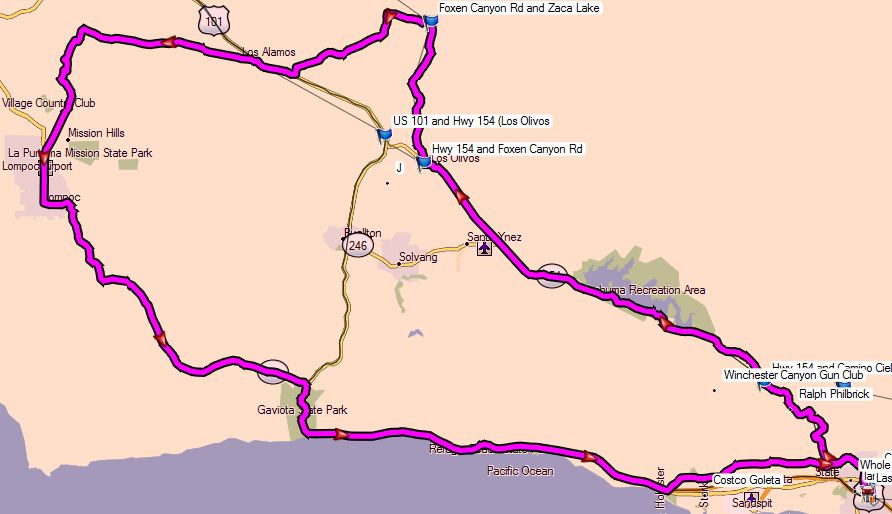 Map of the day's ride, courtesy of my Garmin Zumo 660